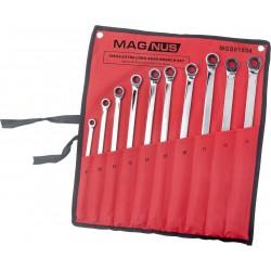 Zestaw 10 kluczy długich z grzechotką 8-19 mm